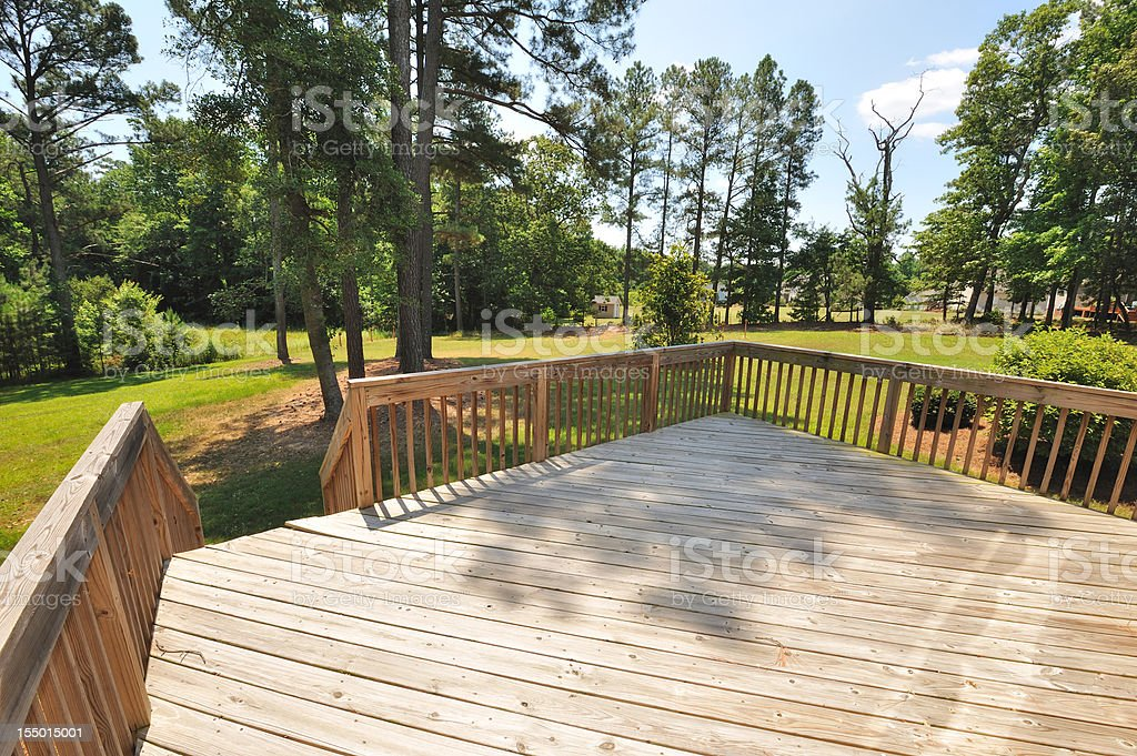 Large Wooden Deck of Home royalty-free stock photo