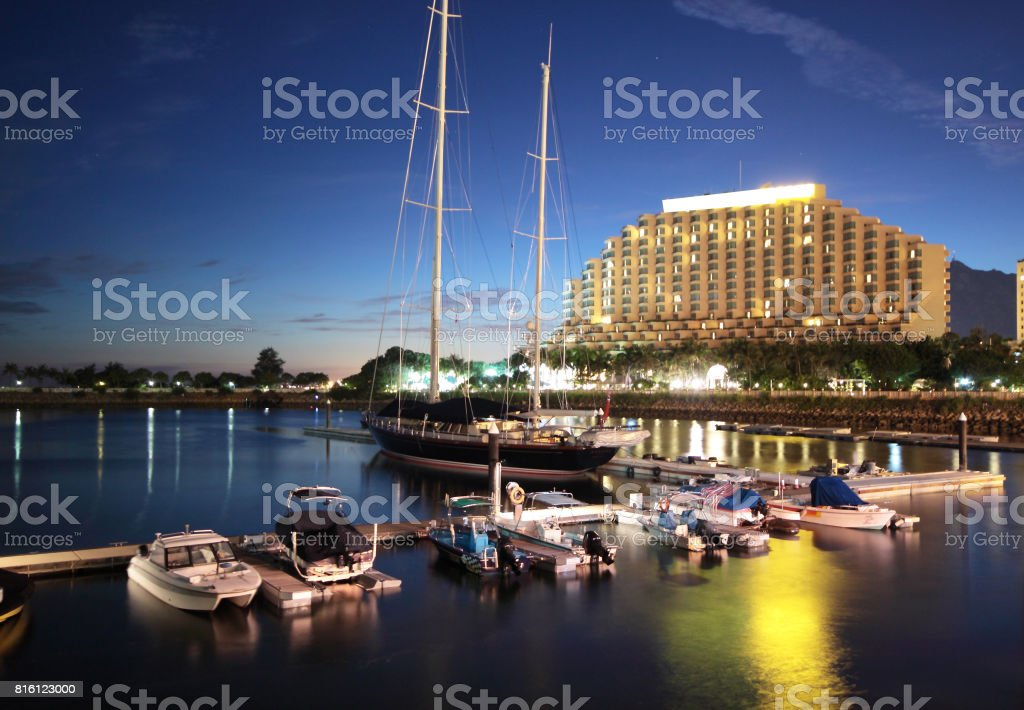large yachts in the golden coast at night stock photo