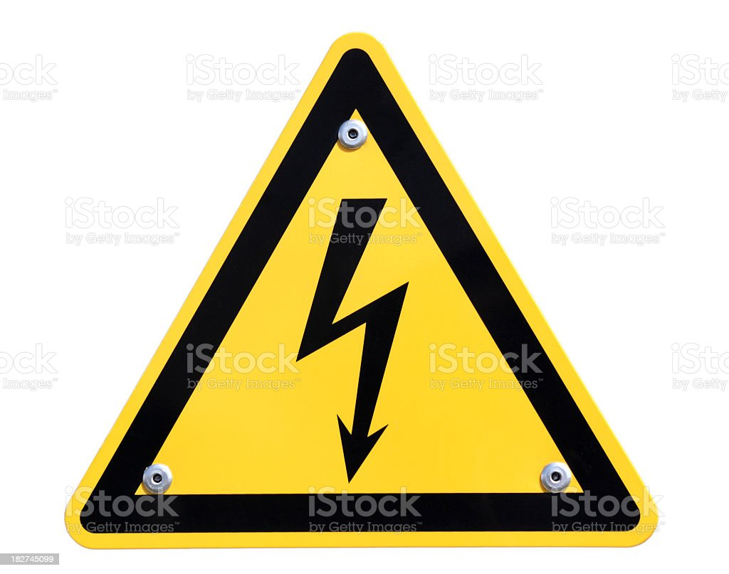 Large yellow and black high voltage sign royalty-free stock photo