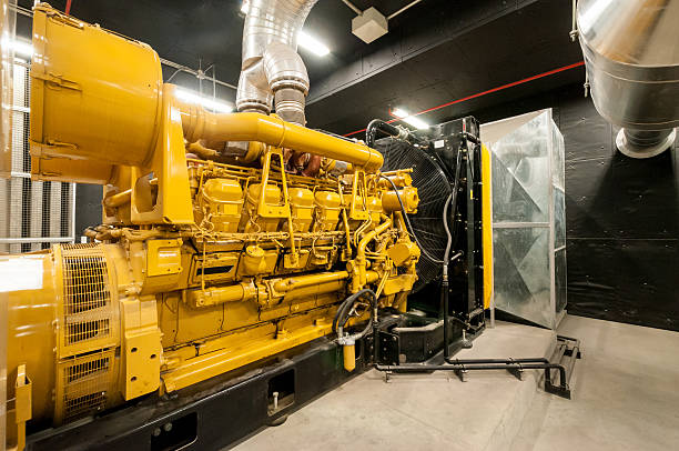 Large yellow electrical power generator stock photo