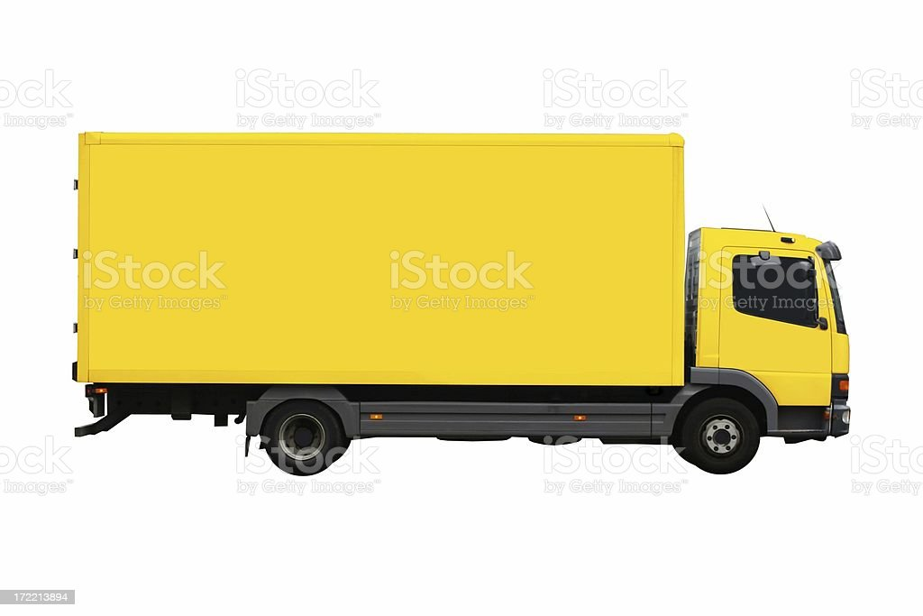 Large, yellow moving truck isolated royalty-free stock photo