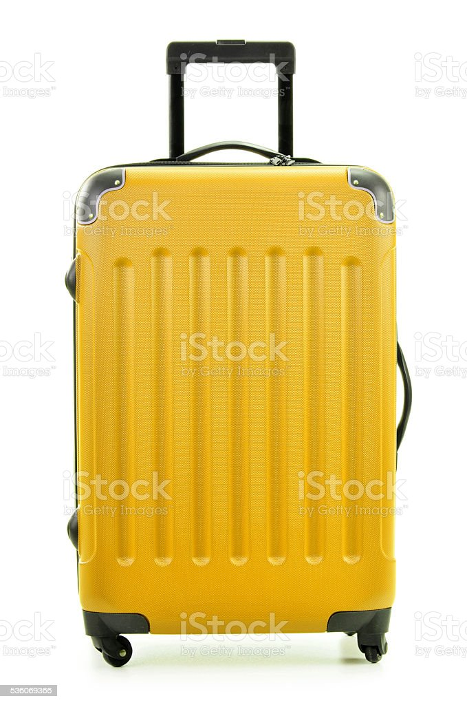 Large yellow polycarbonate suitcase isolated on white stok fotoğrafı