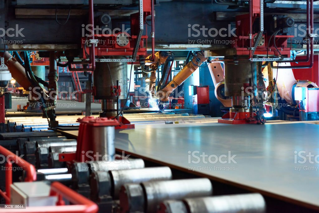 Large-scale production at tube rolling plant stock photo