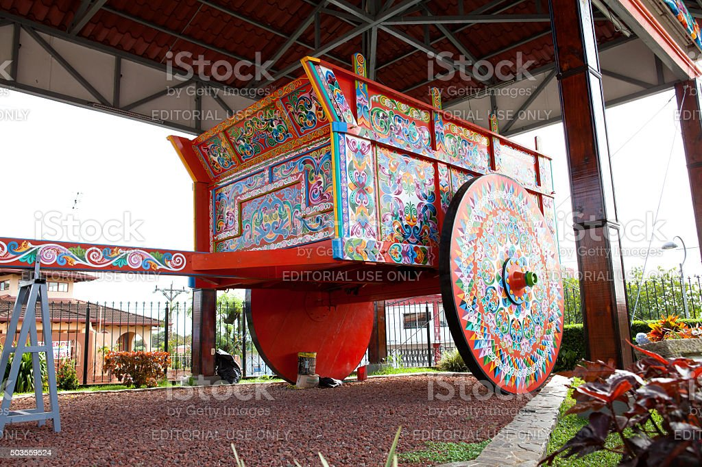 Largest painted Oxcart stock photo