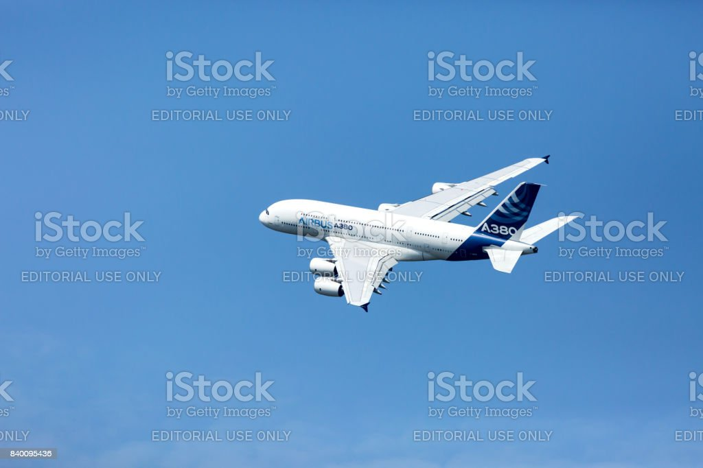 Sliac, SLOVAKIA  - August 26, 2017: Largest passenger plane from Toulouse at the SIAF air show in Slovakia. stock photo