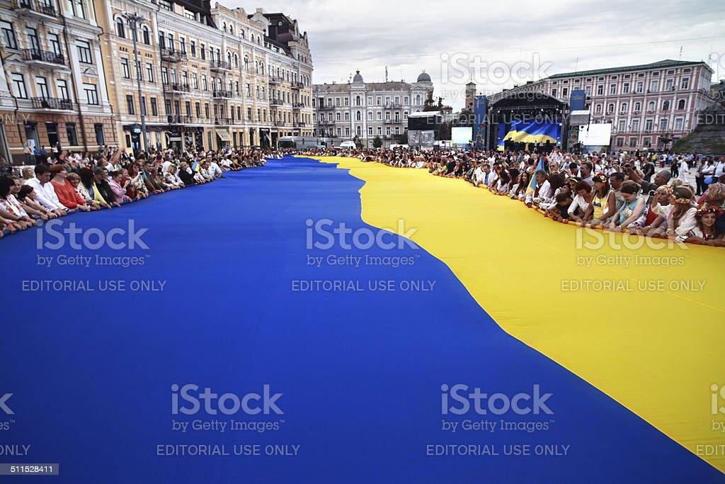 Largest Ukrainian flag stock photo