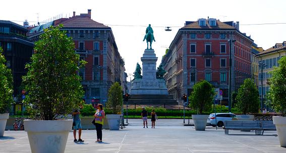 Largo Cairoli square scene in the center of the city Milan. Italy.