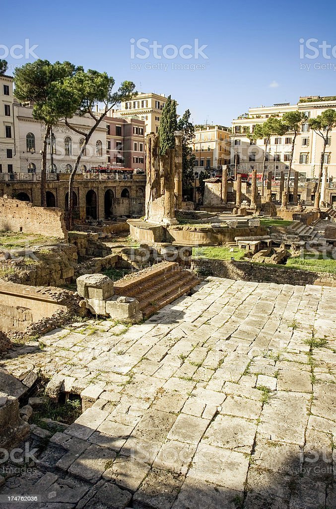 Largo di Torre Argentina and Campus Martius in Rome royalty-free stock photo