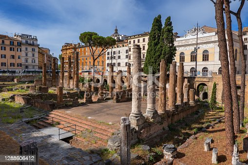 Largo di Torre Argentina square in city of Rome, Italy, ancient temple ruins (4 century BC – 1st century AD) and Teatro Argentina (1731) opera house and theatre in the background.