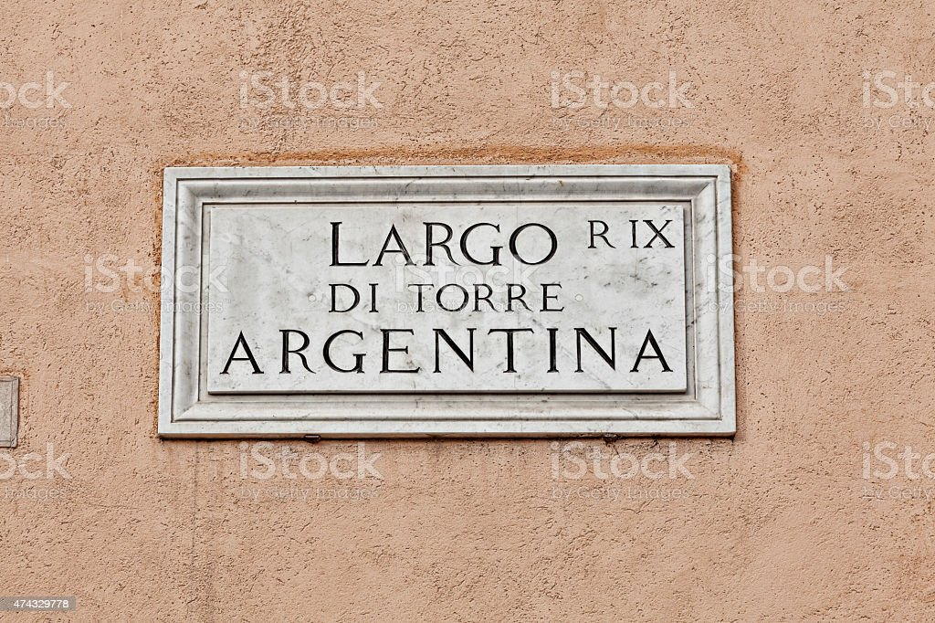 Largo di Torre Argentina  street sign in Rome, Italy stock photo