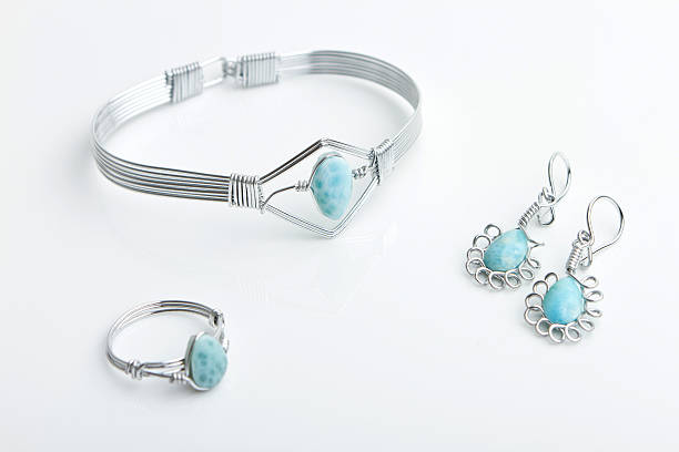 Larimar and silver jewelry stock photo