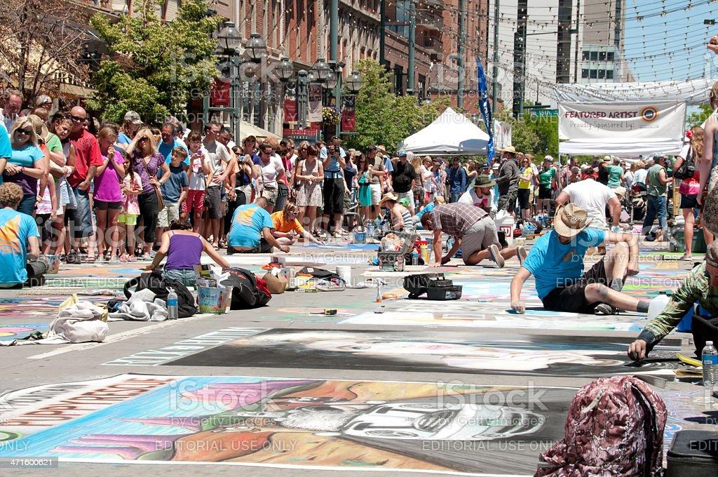 Larimer Square Chalk Festival stock photo