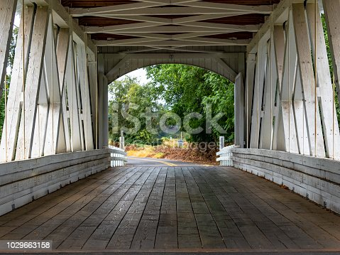 Larwood Covered Bridge over Crabtree Creek is a Historic Landmark in Linn County Oregon. Closest city is Lacomb, Oregon, but is addressed as Scio, Oregon. Near Roaring River.