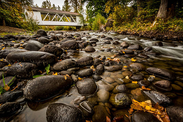 Larwood Covered Bridge Linn County Oregon Driving Tour Creek View stock photo