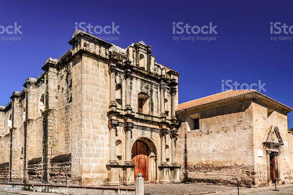Las Capuchinas church & convent ruins, Antigua, Guatemala stock photo