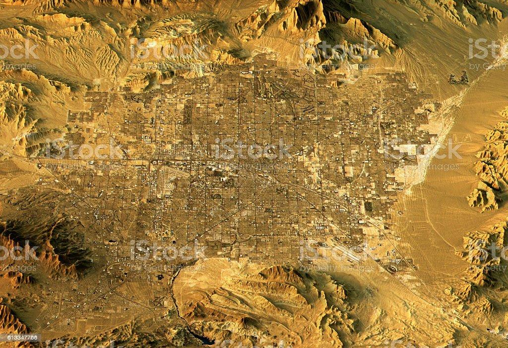 Las Vegas 3D Landscape View East To West Natural Color stock photo