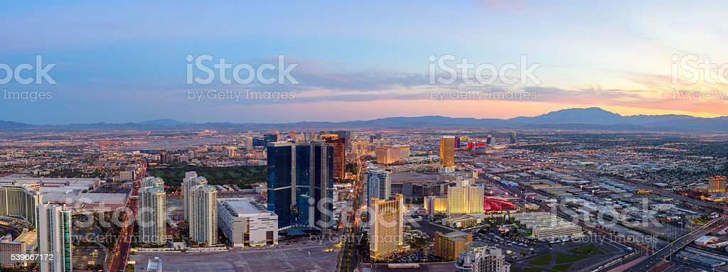 Las Vegas at dusk Panorama stock photo