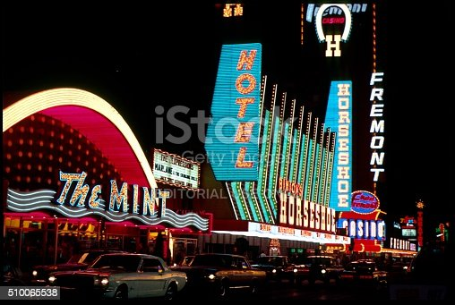 USA, Nevada, Las Vegas September 26, 1968. In the foreground, the former Mint Casino, next to the former Horseshoe Casino. At the end of the street you can see the Fermont Hotel.