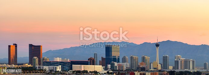 Panoramic view of Las Vegas at dusk