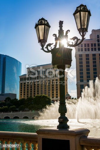 Misical show of fountains in Las Vegas at sunset