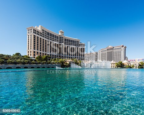 Las Vegas, Nevada, USA - October 3, 2016: Las Vegas Bellagio Hotel Casino, featured with its world famous dancing fountains show in Las Vegas, Nevada.