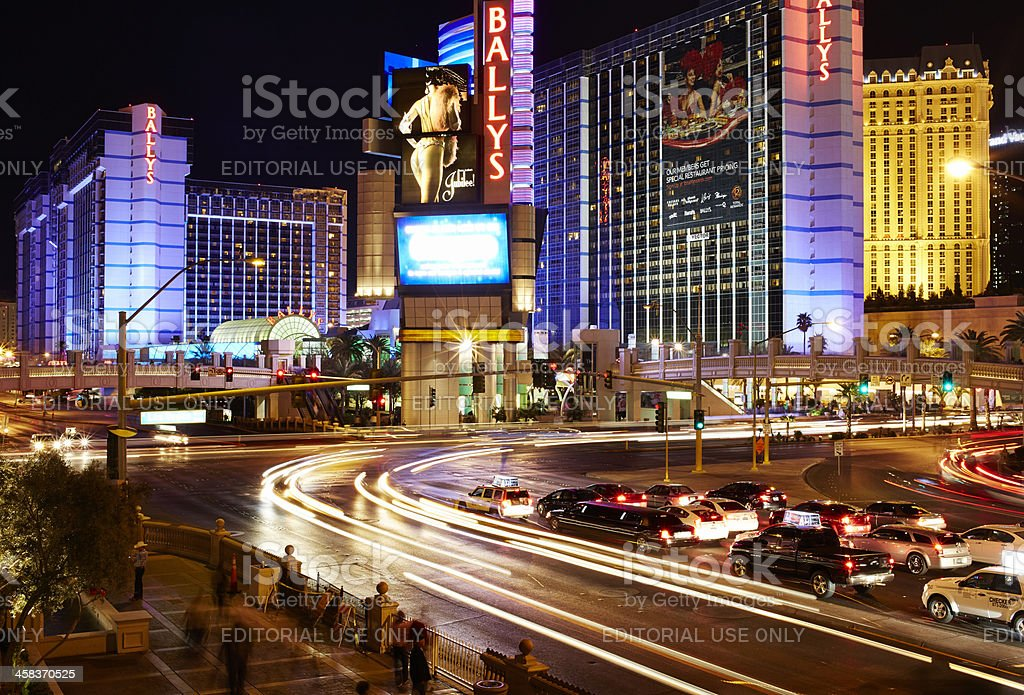 Las Vegas Boulevard and Flamingo Road, Night royalty-free stock photo