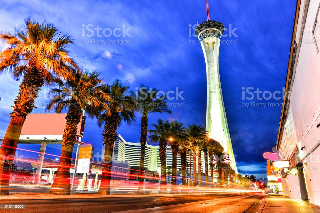 Las Vegas Boulevard at Dusk with Traffic stock photo