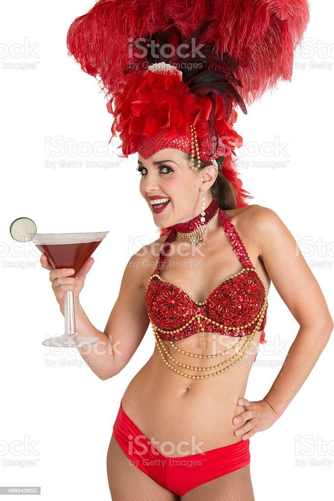 Las Vegas Burlesque Showgirl Dancer with Cosmopolitan Cocktail stock photo
