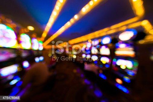 Slot machines inside Las Vegas Casino, defocused