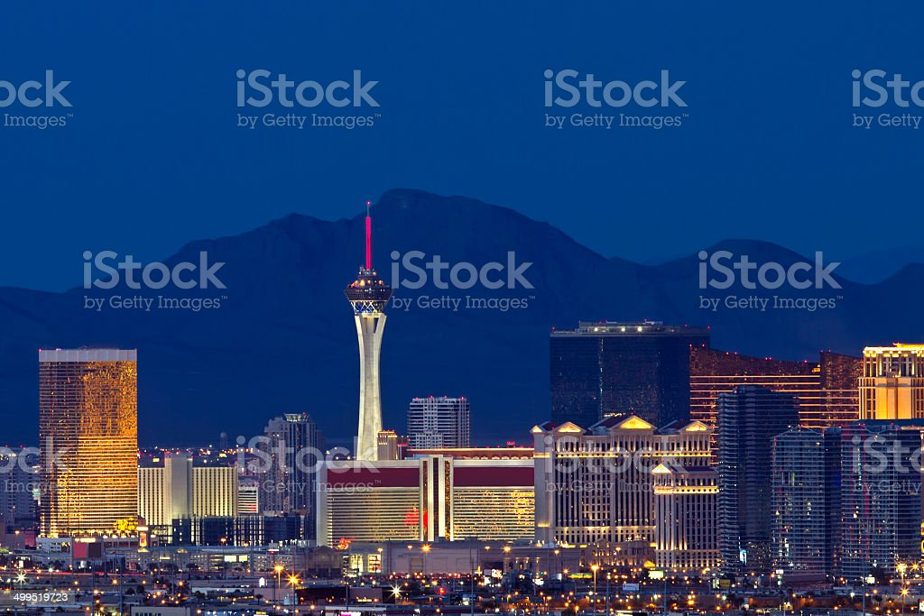 Las Vegas City Skyline at Night stock photo