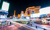 Las Vegas,Nevada,usa. - July 28, 2016: Las Vegas,Nevada,usa.07/28/16 : scenic view of Las Vegas cityscape at night with traffic lighting,las vegas,Nevada,usa.
