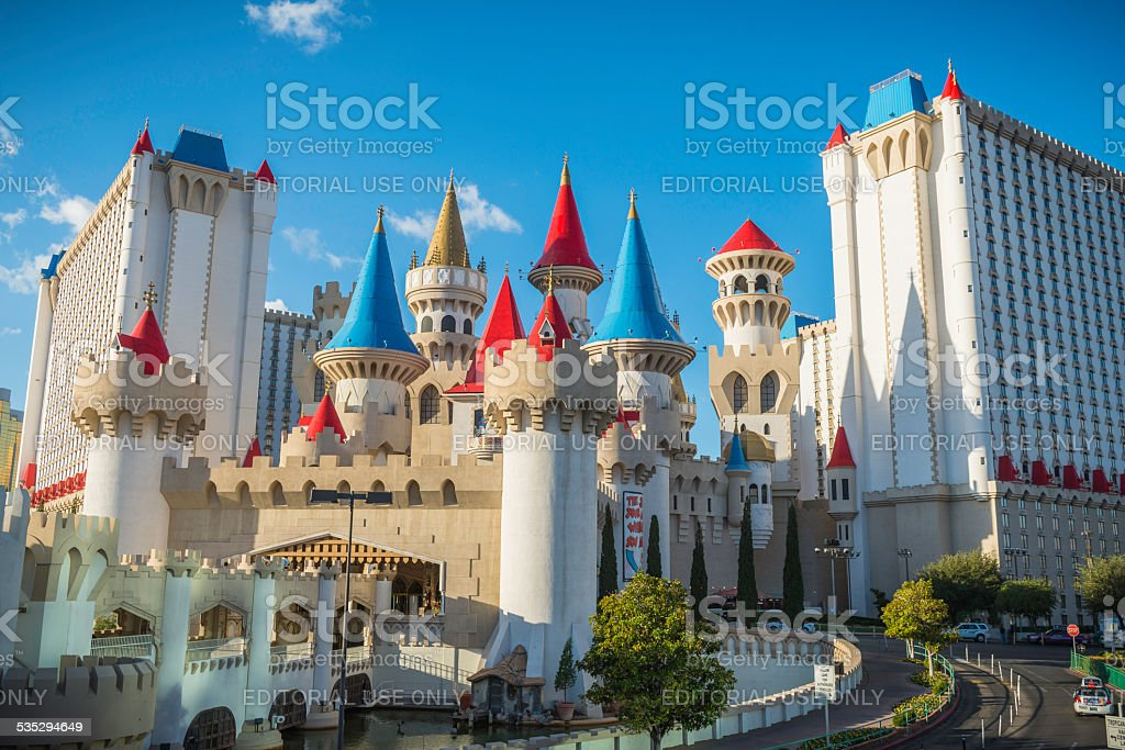 Las Vegas colorful turrets of Exalibur Casino hotel resort Nevada stock photo