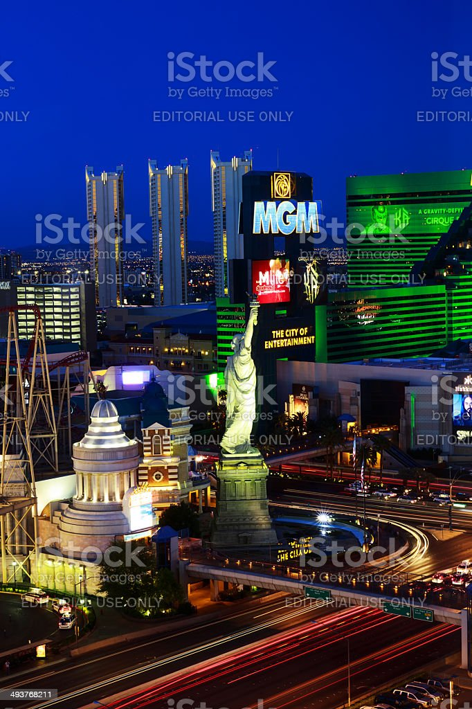 Las Vegas, evening picture of MGM and New York Casino stock photo