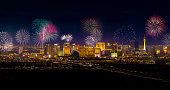 A panoramic stock photo of the Las Vegas city skyline with Fireworks exploding over the city.