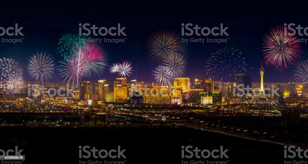 Las Vegas Fireworks stock photo