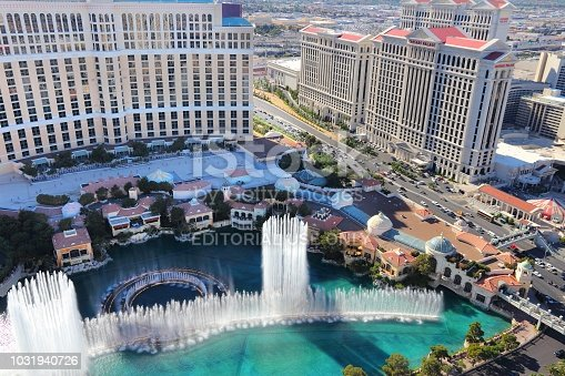 Bellagio and Caesars Palace view in Las Vegas. Both hotels are among 15 largest hotels in the world with 3,950 and 3,960 rooms respectively.