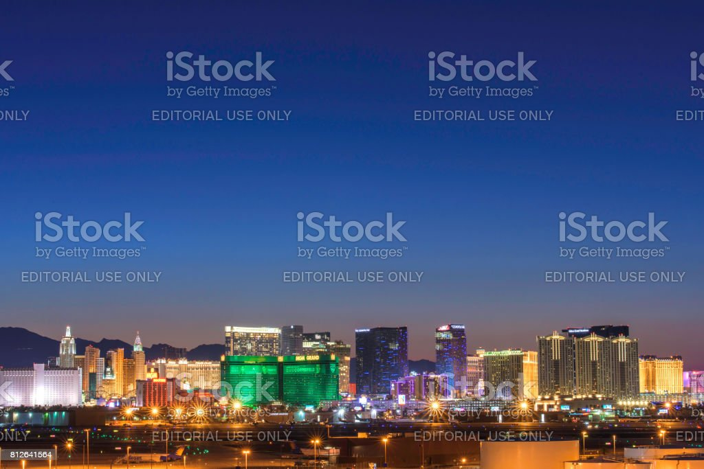Las Vegas Hotel Casino Buildings after sunset stock photo