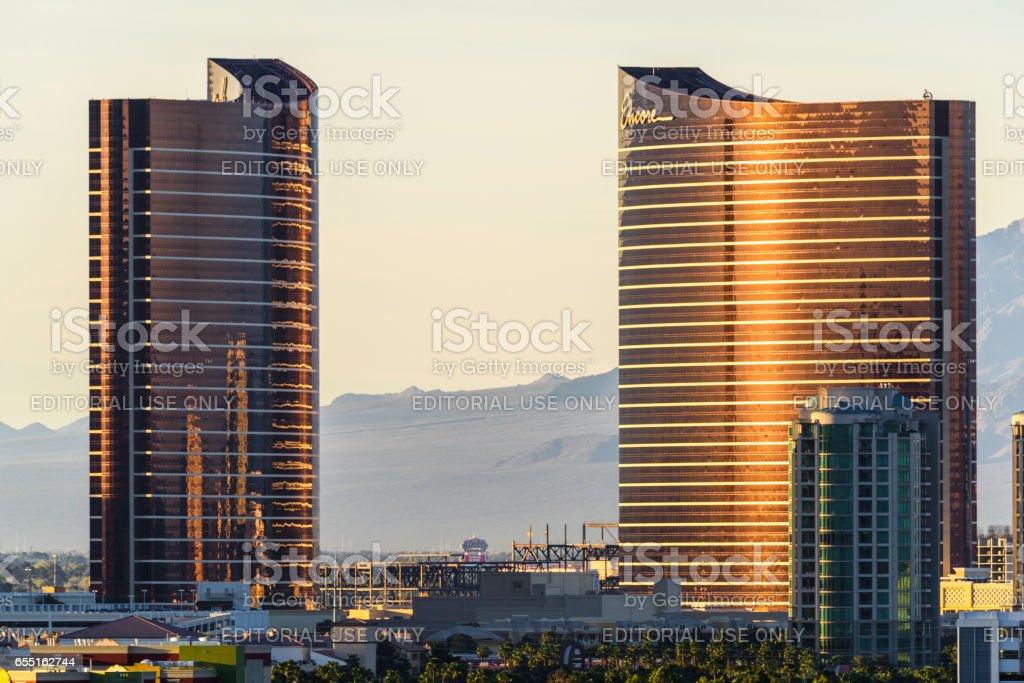 Las Vegas Hotel Casino Buildings at sunset stock photo