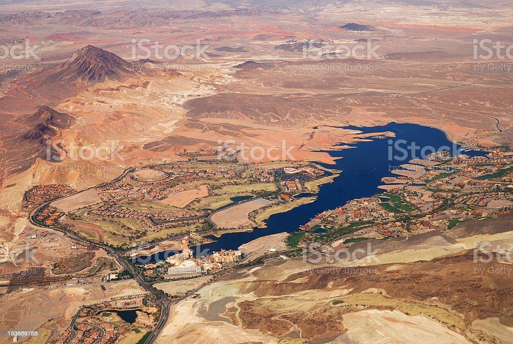 Las Vegas lake aerial view stock photo