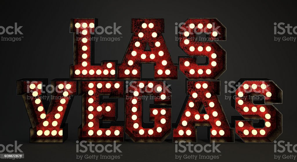 Las Vegas Made Of Red Metallic Frames With Light Bulbs Stock Photo ...