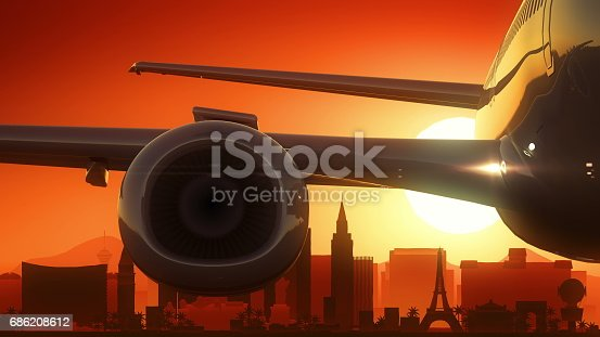 istock Las Vegas Nevada USA America Skyline Sunrise Take Off 686208612
