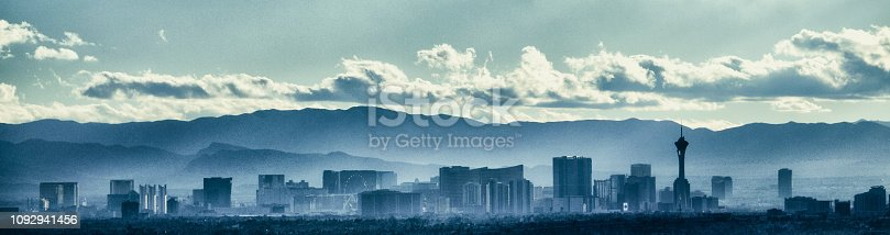A panoramic view of the Las Vegas Nevada USA skyline just before dusk.