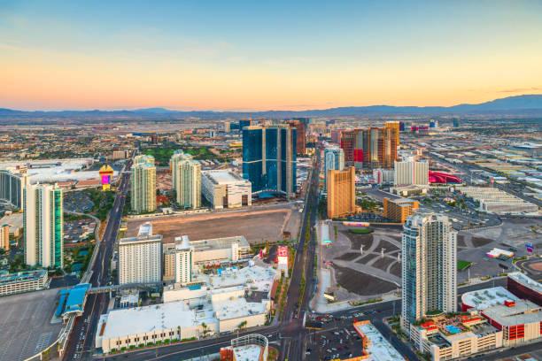 Las Vegas, Nevada, USA skyline over the strip stock photo