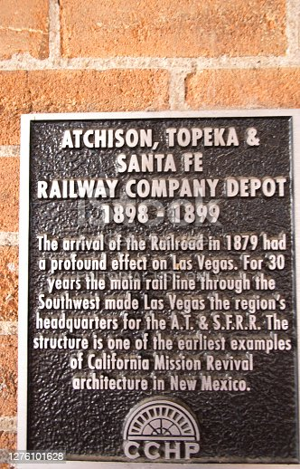 istock Las Vegas, NM: Information Sign at Historic Train Station 1276101628