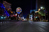 The city of Las Vegas is empty during the COVID-19 pandemic.  All the casinos, restaurants, and bars are closed on the famous Las Vegas strip.