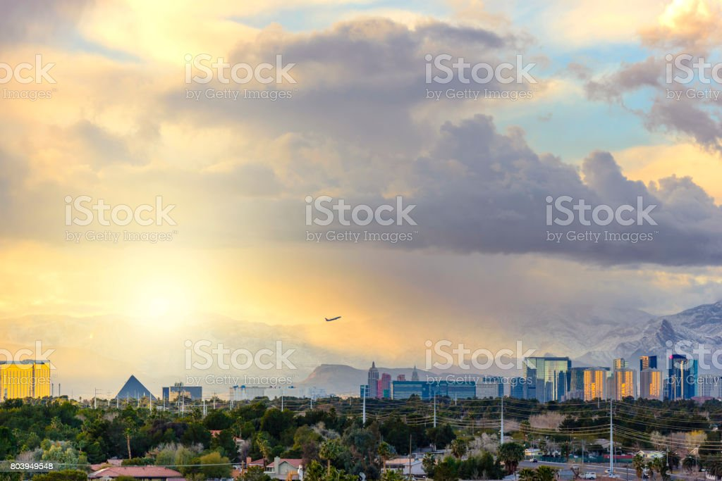 Las Vegas Panorama with Storm Cloud in the Evening stock photo