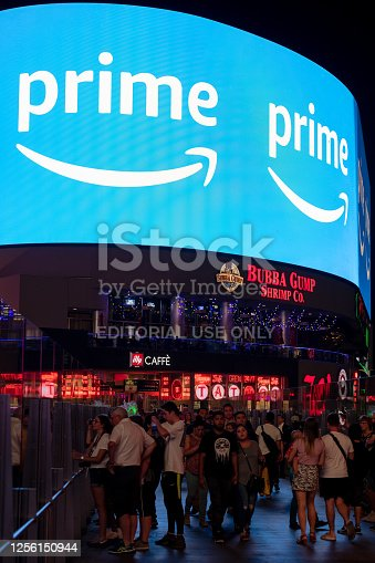 Las Vegas, USA - Sep 22, 2019: A giant Amazon Prime billboard on the last Vegas strip late in the night.