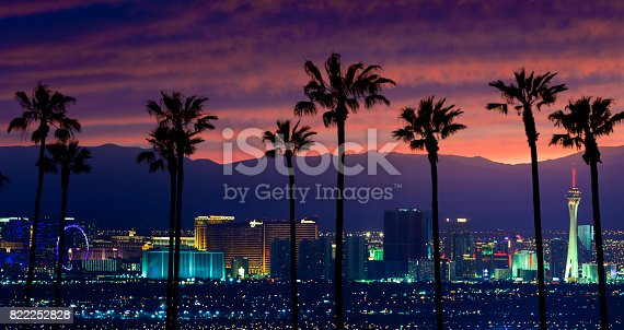 A stock photo of Las Vegas, Nevada with Palm trees in the foreground. Shot at Sunset.