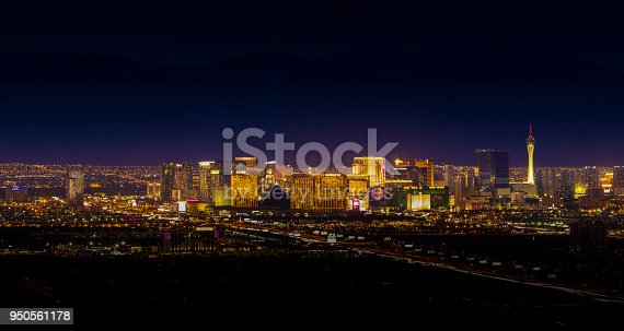 An elevated view of the Las Vegas city skyline.