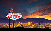 A stock photo of the world famous Las Vegas city skyline.